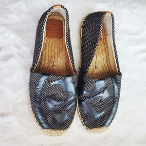 Tory Burch Lonnie Logo Black & Tan Espadrilles